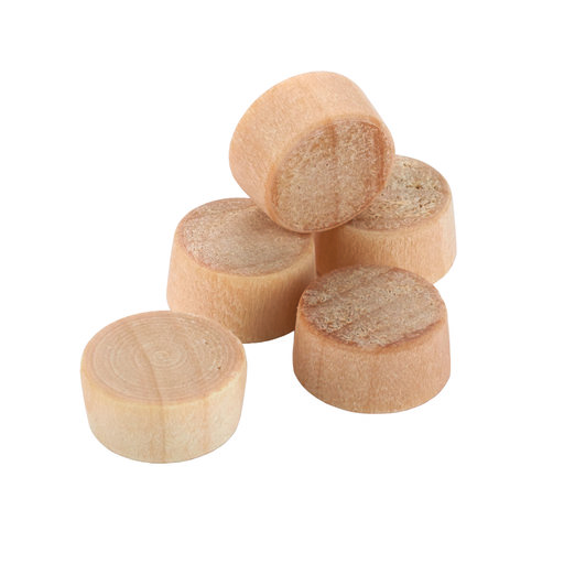 """View a Larger Image of Flat Head Screw Hole Plugs 3/8"""" Birch 15-piece"""