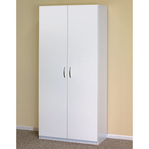 View a Larger Image of Flat Panel Wardrobe Cabinet, White