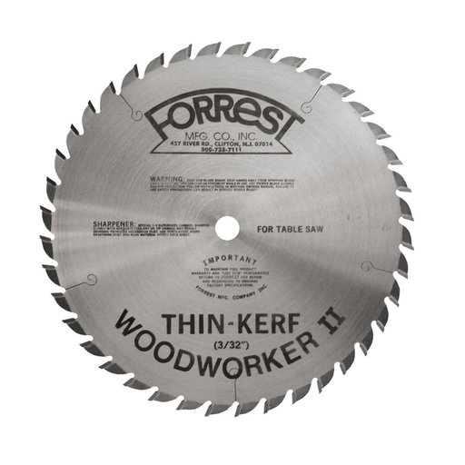 """View a Larger Image of WW08407100 Woodworker II Saw Blade, 8"""" x 40T, .100 Kerf x 5/8"""" Bore, ATB"""