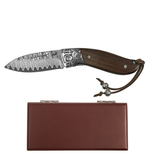 """View a Larger Image of Fox - Decorative Damascus Folder Knife, Stainless Damascus 2-3/4"""" Blade"""
