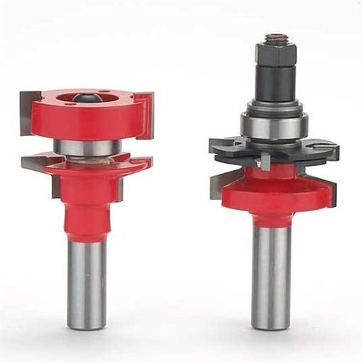 """View a Larger Image of 99-764 Adjustable Tenon 2-Piece Rail And Stile Router Router Bit Set Bevel Profile 1/2"""" Shank"""