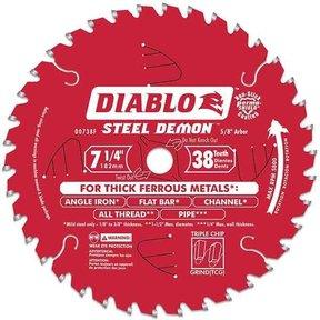"D0738F Diablo Steel Demon Ferrous Cutting Blade, 7-1/4"" diameter, 5/8"" arbor, 38 teeth TCG"