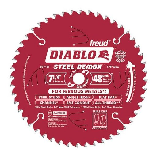 "View a Larger Image of D0748F Diablo Steel Demon Ferrous Cutting Blade, 7-1/4"" diameter, 5/8"" arbor, 48 teeth TCG"