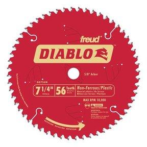 """D0756N Diablo Non-Ferrous Cutting Blade, 7-1/4"""", 5/8"""" arbor, 56 teeth TCG"""