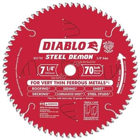 "D0770F Diablo Steel Demon Ferrous Cutting Blade, 7-1/4"" diameter, 5/8"" arbor, 70 teeth TCG"
