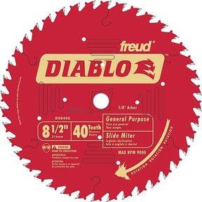"D0840S Diablo Miter/Sliding Miter Blade, 8-1/2"" diameter, 5/8"" arbor, 40 teeth ATB"