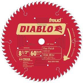 "D0860S Diablo Mitre/Sliding Miter Blade, 8-1/2"" diameter, 5/8"" arbor, 60 teeth ATB"