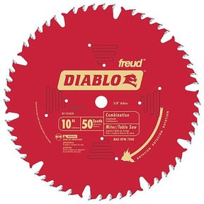 """D1050X Diablo Combination Blade, 10"""" diameter, 5/8"""" arbor, 50 teeth ATB"""