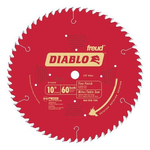 "View a Larger Image of D1060X Diablo Fine Finish Blade, 10"" diameter, 5/8"" arbor, 60 teeth Hi-ATB"