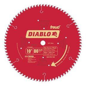 """D1080N Diablo Non-Ferrous/ Plastics Blade, 10"""" diameter, 5/8"""" arbor, 80 teeth TCG"""