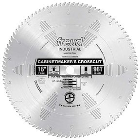 """LU73M016 Industrial Cabinetmaker's Crosscut Wood Blade, 16"""" diameter, 1"""" arbor, 96 teeth ATB"""