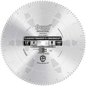 """LU73M018 Industrial Cabinetmaker's Crosscut Wood Blade, 18"""" diameter, 1"""" arbor, 108 teeth ATB"""