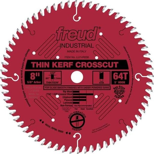 """View a Larger Image of LU74R008 Industrial Thin Kerf Ultimate Cut-Off Wood Blade with Red Perma-Shield, 8"""" diameter,"""