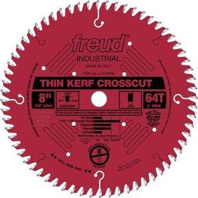 "LU74R008 Industrial Thin Kerf Ultimate Cut-Off Wood Blade with Red Perma-Shield, 8"" diameter,"