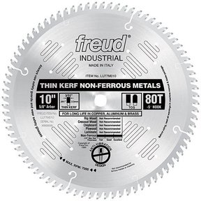 """LU77M010 Industrial Thin Kerf Non-Ferrous Blade, 10"""" diameter, 1/4"""" max thick, 5/8"""" arbor, 80"""