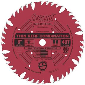 """LU83R008 Industrial Thin Kerf Combination Blade with Red Perma-Shield, 8"""" diameter, 5/8"""" arbor"""