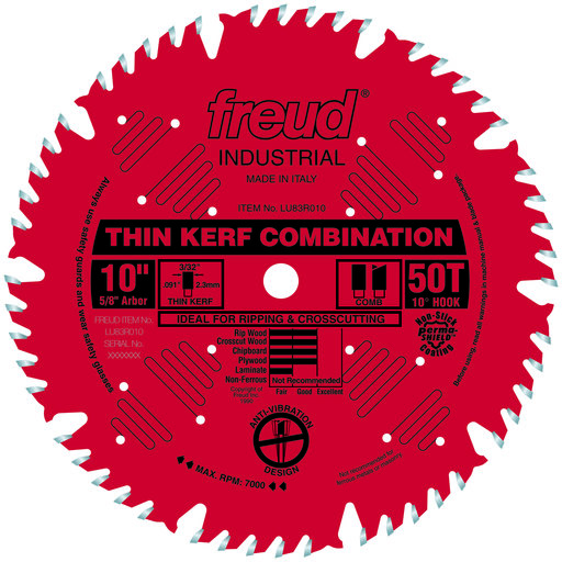 """View a Larger Image of LU83R010 Finish Red Circular Saw Blade 10"""" x 5/8"""" Bore x 50 Tooth Combination Thin Kerf"""