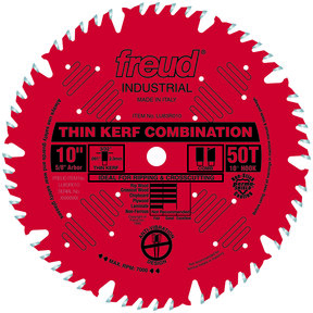 """LU83R010 Finish Red Circular Saw Blade 10"""" x 5/8"""" Bore x 50 Tooth Combination Thin Kerf"""