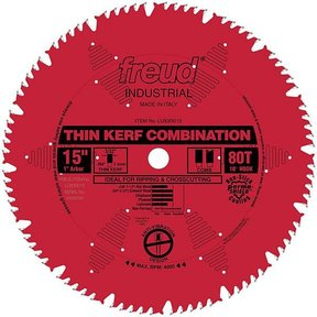 """LU83R015 Industrial Thin Kerf Combination Blade, with Red Perma-Shield, 15"""" diameter, 1"""" arbor"""