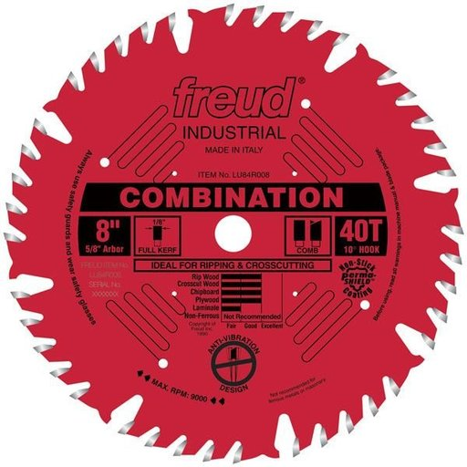 """View a Larger Image of LU84R008 Industrial Combination Blade with Red Perma-Shield, 8"""" diameter, 5/8"""" arbor, 40 teeth"""