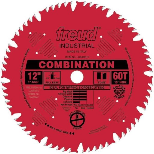 """View a Larger Image of LU84R012 Red Perma-Shield Circular Saw Blade 12"""" x 1"""" Bore x 60 Tooth Hi-Combination"""