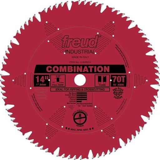 """View a Larger Image of LU84R014 Industrial Combination Blade with Red Perma-Shield, 14"""" diameter, 1"""" arbor, 70 teeth"""