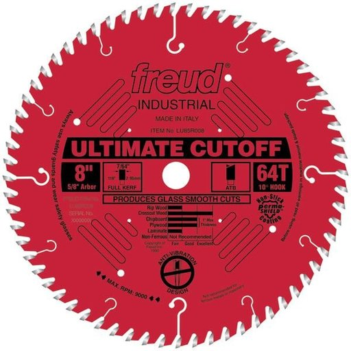 """View a Larger Image of LU85R008 Industrial Ultimate Cut-Off Bladed with Red Perma-Shield 8"""" x 5/8"""" Bore x 64 Tooth ATB"""