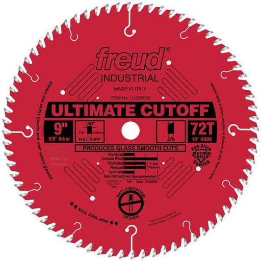 """View a Larger Image of LU85R009 Industrial Ultimate Cut-Off Blade with Red Perma-Shield, 9"""" diameter, 5/8"""" arbor"""