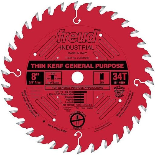 """View a Larger Image of LU86R008 Industrial Thin Kerf General Purpose Blade with Red Perma-Shield, 8"""" diameter, 5/8"""" a"""