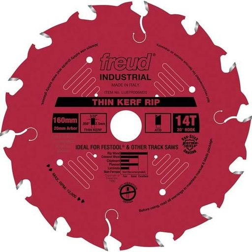 View a Larger Image of LU87R006M20 Thin Kerf Ripping Blade with Red Perma-Shield, 160mm diameter,  20mm arbor