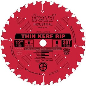 """LU87R012 Industrial Thin Kerf Ripping Blade with Red Perma-Shield, 12"""" diameter, 1"""" arbor, 30"""