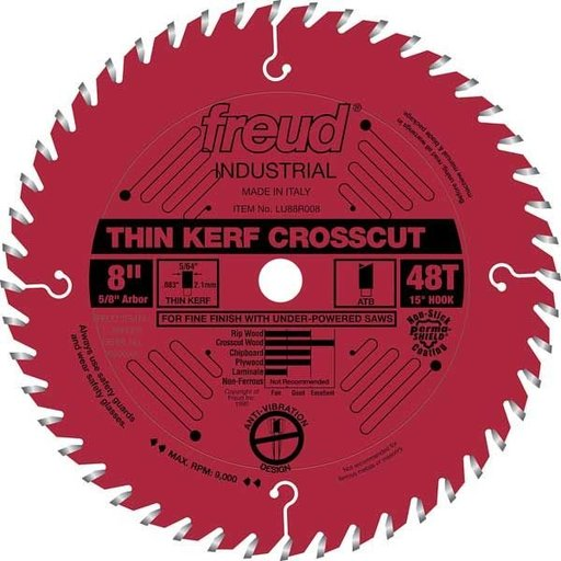 """View a Larger Image of LU88R008 Industrial Thin Kerf Fine Finishing Crosscut Blade with Red Perma-Shield, 8"""" diameter"""