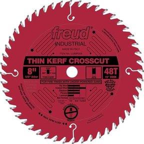 "LU88R008 Industrial Thin Kerf Fine Finishing Crosscut Blade with Red Perma-Shield, 8"" diameter"