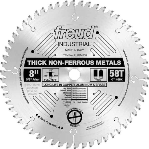 """View a Larger Image of LU89M008 Industrial Thick Non-Ferrous Metal Blade, 8"""" diameter, 1/4"""" max thick, 5/8"""" arbor, 58"""