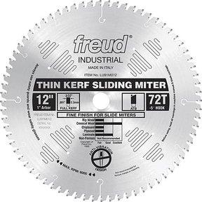 "LU91M012 Sliding Compound Miter Saw Blade 12"" X 1"" Bore 72 Tooth Thin Kerf"