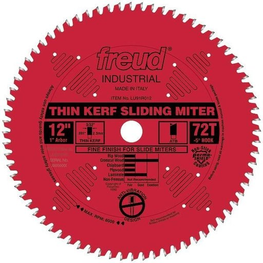 """View a Larger Image of LU91R012 Sliding Compound Miter Saw Blade 12"""" x 1"""" Bore x 72 Tooth ATB"""