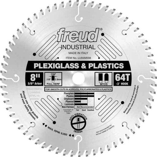 "View a Larger Image of LU94M008 Industrial Plastic Blade for Plexiglass/Acrylics, 8"" diameter, 5/8"" arbor, 64 teeth T"