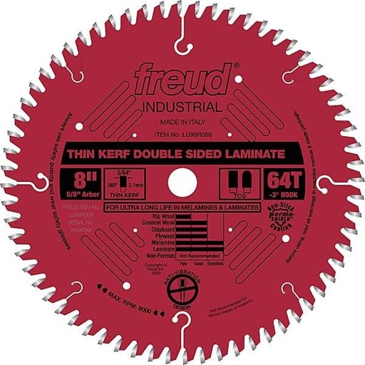 """View a Larger Image of LU96R008 Double sided Laminate / Melamine Saw Blade 8"""" X 5/8"""" Bore X 64Tooth Thin Kerf"""