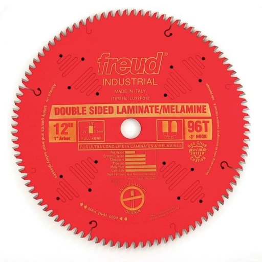 """View a Larger Image of LU97R012 Double Sided Laminate/Melamine Circular Saw Laminate Saw Blade 12"""" x 1"""" Bore x 96 Tooth TCG"""