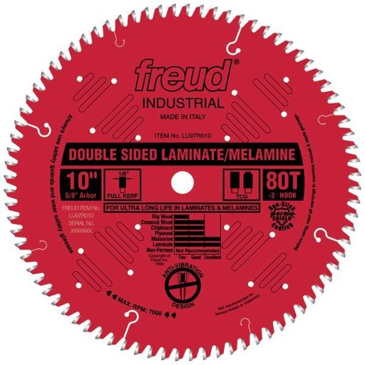 """View a Larger Image of LU97R9010 Double Sided Laminated/Melamine Circular Saw Blade 10"""" X 5/8"""" Bore X 80 Tooth TCG"""