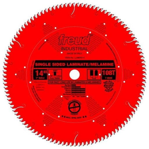 """View a Larger Image of LU98R014 Industrial Single Sided Laminate/Melamine Blade with Red Perma-Shield, 14"""" diameter"""