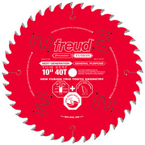 "P410T Fusion Circular Saw Blade 10"" x 5/8"" Bore x 40 Tooth Thin Kerf"