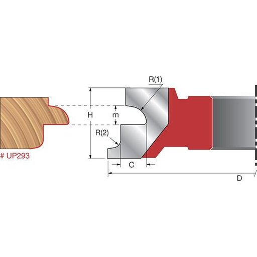 """View a Larger Image of UP293 Door Lip Shaper Cutter, 4-21/64"""" OD, 3/8"""" CD, 1-1/32"""" CL, 1-1/4"""" bore"""