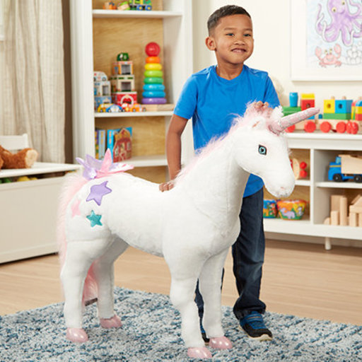 """View a Larger Image of Giant Unicorn, Stuffed Animals & Play Toys, Sturdy Wireframe Construction, Pure White Plush Fur, 32"""" H x 45"""" W x 12"""" L"""