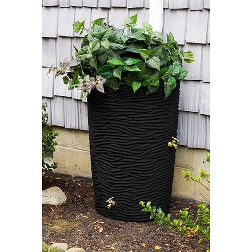 View a Larger Image of Good Ideas Impressions Palm Rain Saver, 50 Gallon, Black
