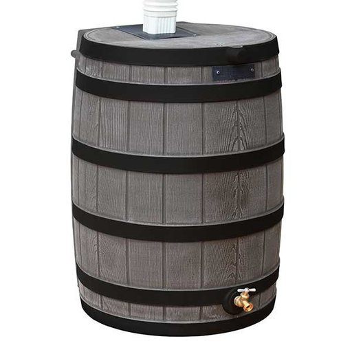 View a Larger Image of Good Ideas Rain Wizard 40 with Darkened Ribs, 40 Gallon, Oak