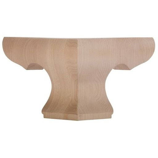 View a Larger Image of Corner Pedestal Bun Foot - Alder, Model BFPED-C-A