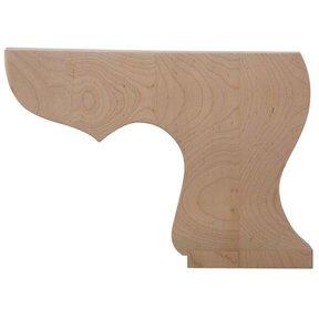 Right Pedestal Bun Foot - Hardwood, Model BFPED-R-H