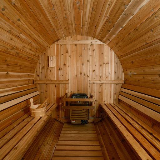 View a Larger Image of Grandview Wood-Burning  Barrel Sauna in Rustic Cedar
