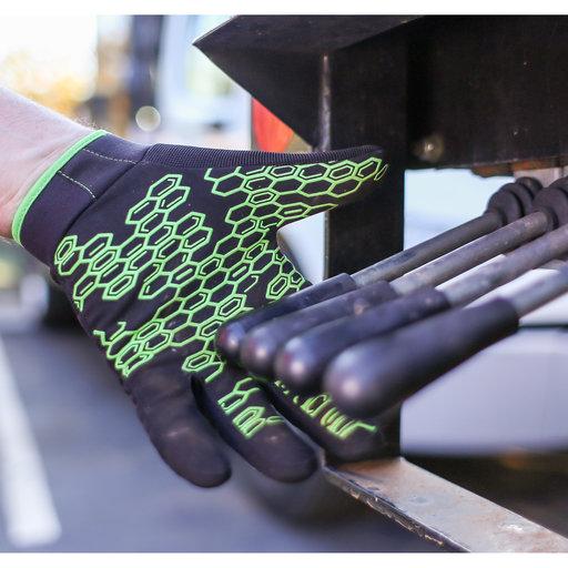 View a Larger Image of Grasper Gloves, Black/Green, XL